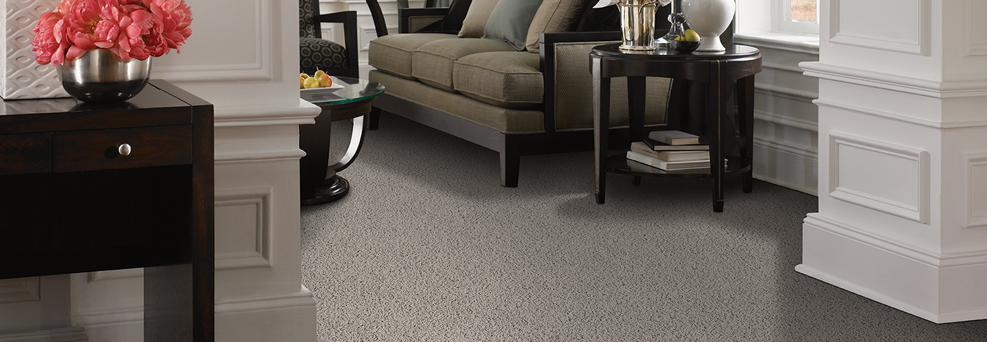 Living room scene with taupe Softique carpet